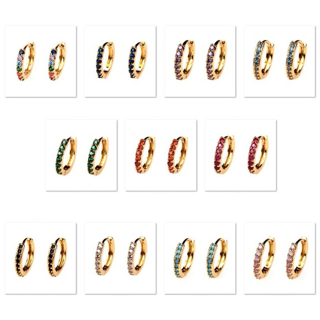 wholesale jewelry fashion rainbow colorful copper inlaid zircon earrings nihaojewelry NHPY375450's discount tags