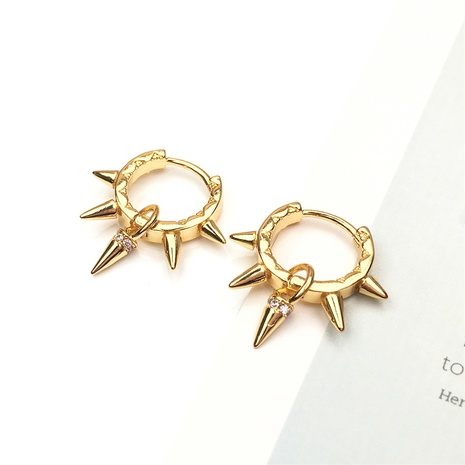 wholesale jewelry simple rivet spiked copper inlaid zircon earrings nihaojewelry NHPY375451's discount tags