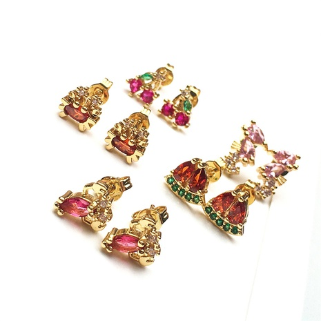 wholesale jewelry fashion seahorse lobster shape copper inlaid zircon earrings nihaojewelry NHPY375452's discount tags