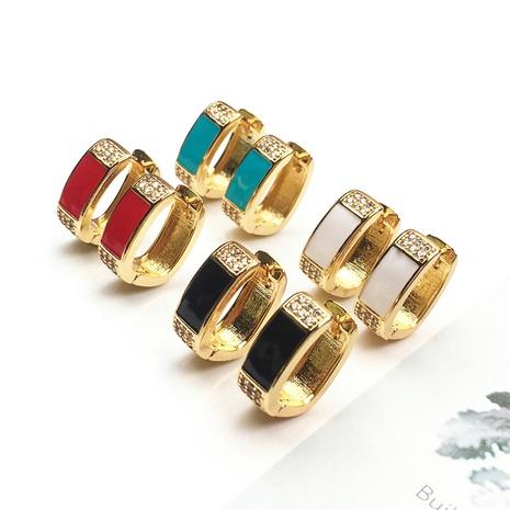 wholesale jewelry simple geometric diamond copper inlaid zircon earrings nihaojewelry NHPY375453's discount tags