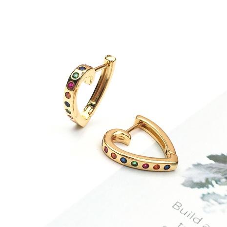 wholesale jewelry fashion hollow heart-shape copper inlaid zircon earrings nihaojewelry NHPY375454's discount tags