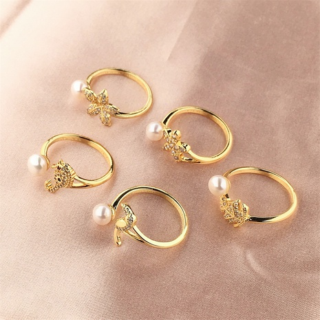 wholesale jewelry pearl bird copper ring Nihaojewelry NHPY375456's discount tags