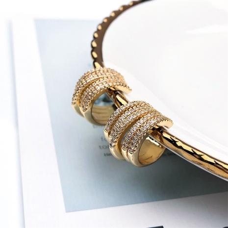 wholesale jewelry fashion geometric copper inlaid zircon ear clip nihaojewelry NHPY375460's discount tags