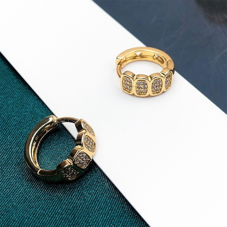 wholesale jewelry fashion geometric copper inlaid zircon asymmetric earrings nihaojewelry NHPY375462's discount tags