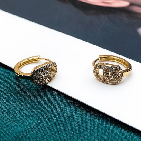wholesale jewelry fashion lock-shaped copper inlaid zircon earrings nihaojewelry NHPY375463's discount tags
