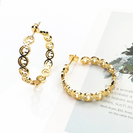 wholesale jewelry retro smiley gold-plated copper earrings nihaojewelry NHPY375466's discount tags