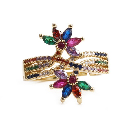 wholesale jewelry fashion rainbow leaf copper micro-inlaid zirconium ring nihaojewelry NHYL375531's discount tags