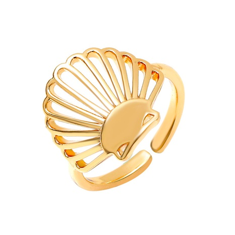 wholesale jewelry simple copper hollow shell ring Nihaojewelry NHMO375589's discount tags