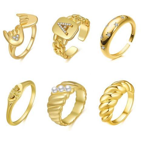 wholesale jewelry geometric zircon copper open six-piece ring Nihaojewelry NHMO375614's discount tags