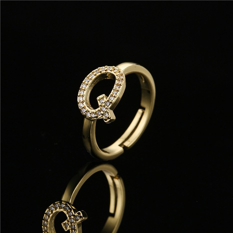 wholesale jewelry copper micro-inlaid 26 English alphabet ring Nihaojewelry NHFMO375620's discount tags
