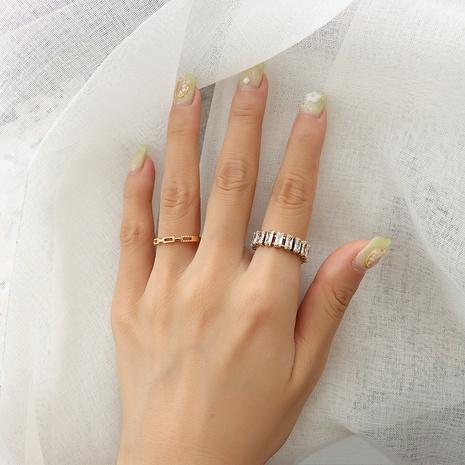 wholesale jewelry two claw zircon titanium steel ring Nihaojewelry NHOK375552's discount tags
