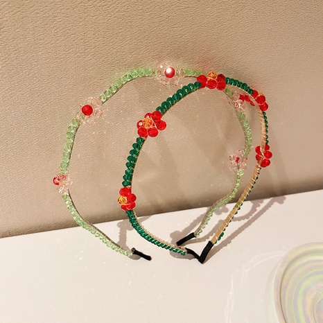 Wholesale flower crystal bead hairband trendy hair accessories women Nihaojewelry NHQIY375644's discount tags