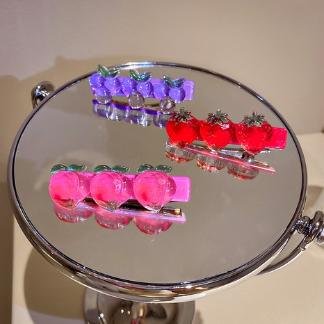 Wholesaale heart fruit hairpin Nihaojewelry acrylic duckbill clip hair accessories NHQIY375654's discount tags