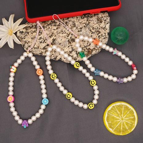 bohemian smiley face pearl beaded short mobile phone lanyard  NHYUZ360947's discount tags