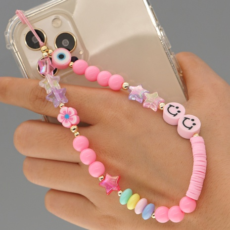 ethnic bohemian pink smiley mobile phone chain  NHYUZ360956's discount tags