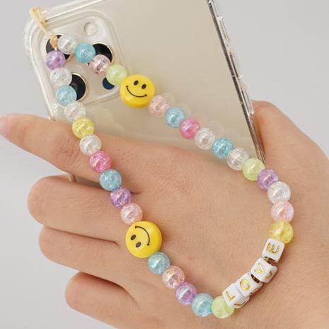 Simple Bohemian Symphony Beaded Smiley Phone Lanyard  NHYUZ360984's discount tags