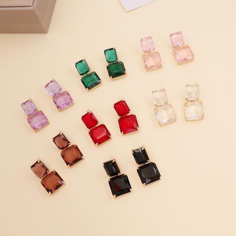 Boucles d'oreilles longues en cristal carré macaron à la mode NHBW361004's discount tags