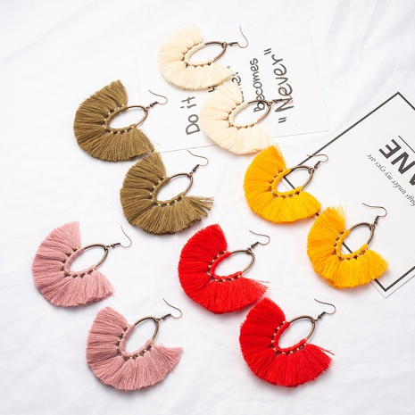 Bohemian retro color oval tassel alloy earrings wholesale  NHAKJ361068's discount tags
