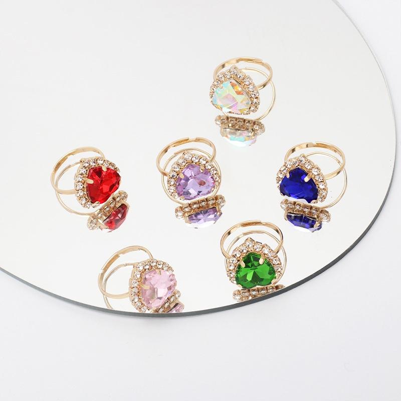 Korean geometric alloy crystal heartshaped ring wholesale  NHRN361074