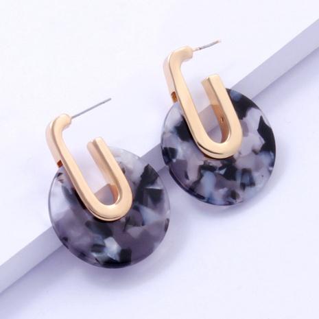 boucles d'oreilles rétro géométriques en plaque d'acétate circulaire NHAYN361076's discount tags