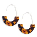 fashion leopard print tortoiseshell acrylic Ushaped earrings  NHAYN361080