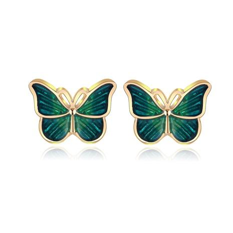 boucles d'oreilles papillon vert foncé rétro simples créatives NHPJ361107's discount tags