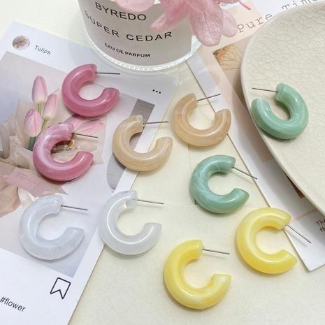 boucles d'oreilles en résine créative en forme de C couleur macaron NHPJ361120's discount tags