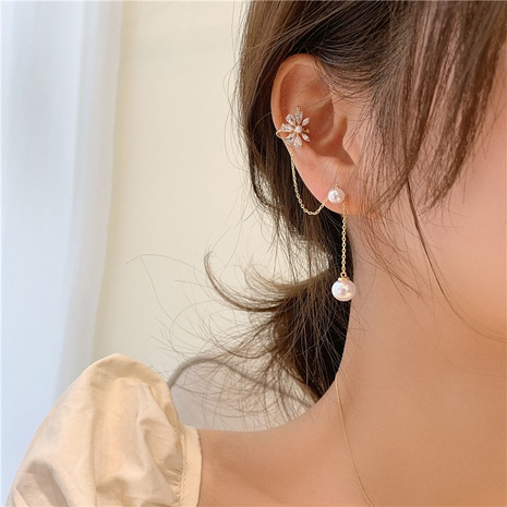 Boucles d'oreilles en zircon avec pompon en perles de fleurs coréennes NHMS361144's discount tags