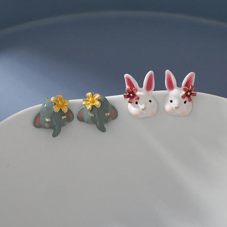 jolies boucles d'oreilles fleur d'éléphant lapin dessin animé à la main NHMS361157's discount tags