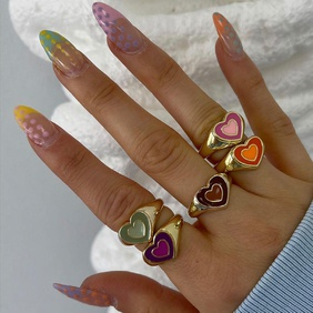 fashion double heart contrast color alloy dripping ring NHMO361165