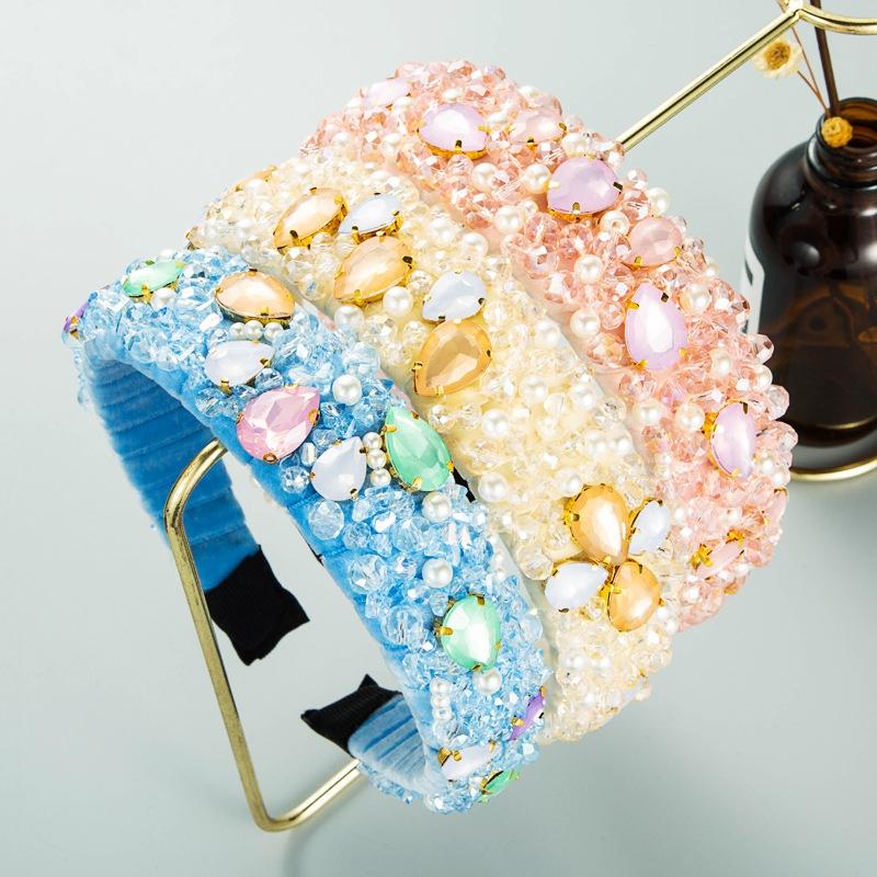 water drop shaped glass diamond crystal inlaid flannel winding retro headband NHLN361205