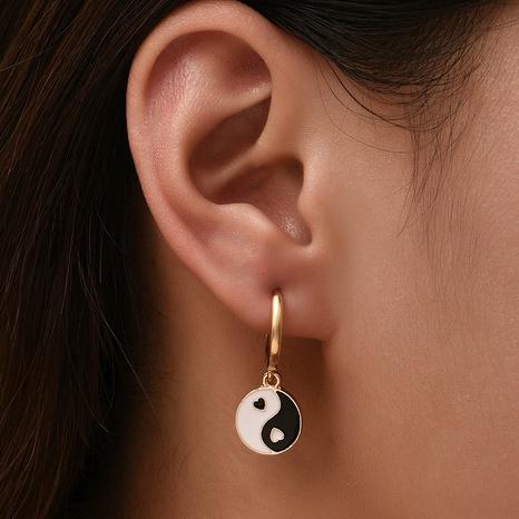 boucles d'oreilles en deux pièces de personnalité de la mode dégoulinant d'huile NHAJ361236's discount tags