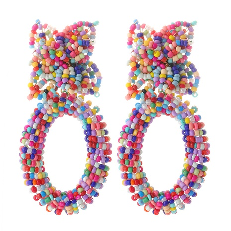 Exaggerated Bohemian Bead Earrings Wholesale NHJJ361252's discount tags