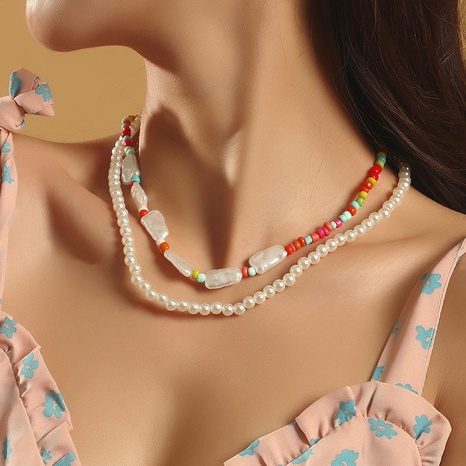 Bohemian Handmade Pearl Beads Multilayer Necklace  NHLA361260's discount tags
