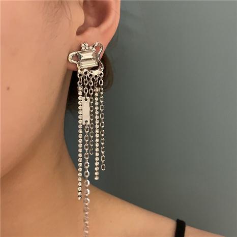 Retro zircon tassel long earrings NHYQ361316's discount tags