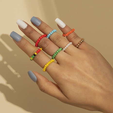 Bohemian style mixed color rice beads beaded color elastic combination ring  NHXR361410's discount tags