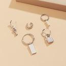 Trendy geometric square brand lock earrings set  NHXR361426