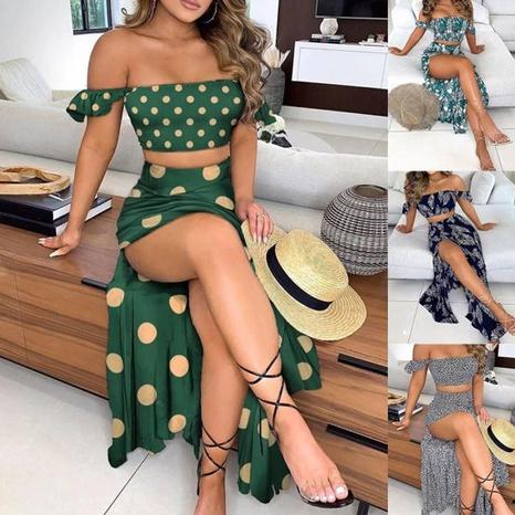 Chemisier à col une ligne sexy à la mode, tailleur deux pièces jupe longue fendue NHUO361756's discount tags