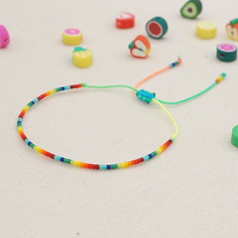 Simple bohemian style gradient rice beads hand-woven rainbow bracelet  NHGW361436's discount tags