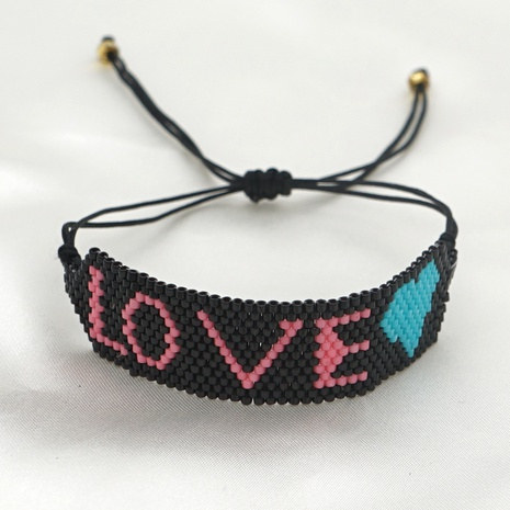 bohemia style rice beads hand-woven letters bracelet NHGW361439's discount tags