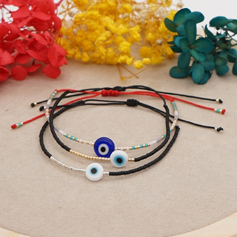Simple Bohemian Glass Lucky Eyes Beaded Couple Bracelet  NHGW361442's discount tags