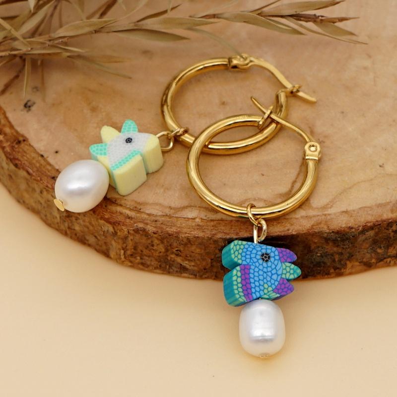bohemian fashion pearl stainless steel hoop earrings NHGW361453