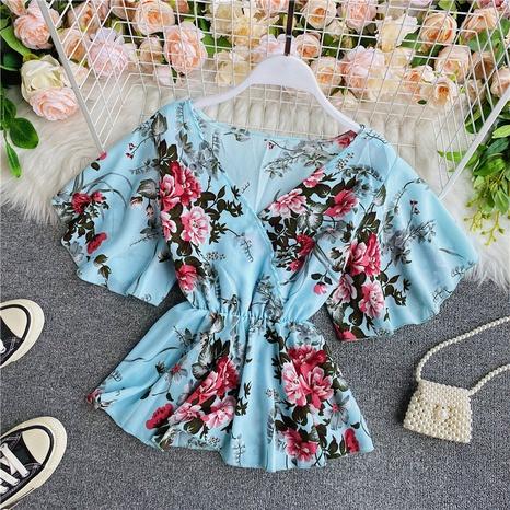 Chemisier ample à manches courtes et à lacets en mousseline de soie fleurie NHZN361741's discount tags