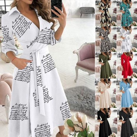 fashion sexy V-neck printed lace-up dress wholesale  NHUO361740's discount tags