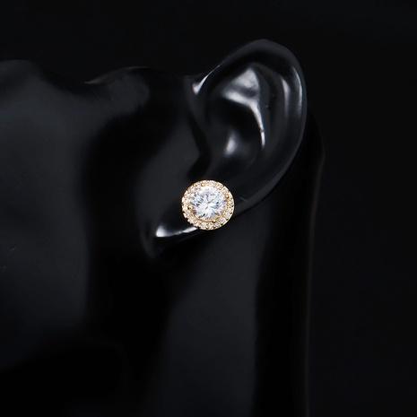 Boucles d'oreilles cercle zircon simple de style coréen NHHS361521's discount tags