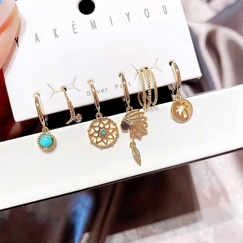 personalized retro turquoise Indian tribe earrings set  NHCG361540