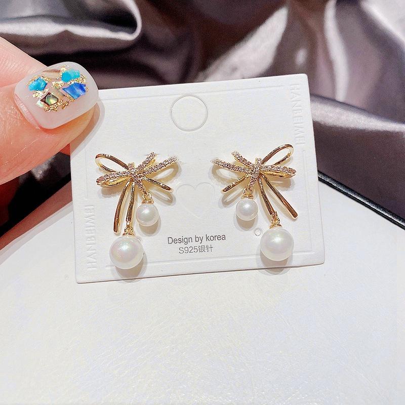 fashion zircon microinlaid bow pearl pendant earrings NHCG361554