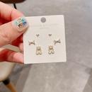 Korean heart bow cute bear copper pearl earrings  NHCG361555