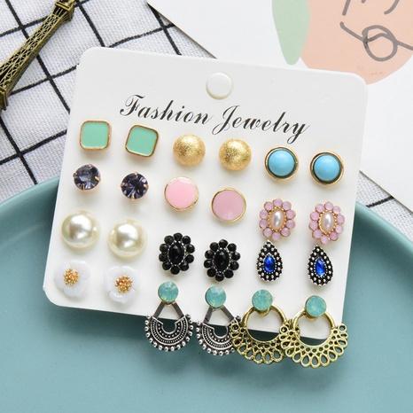 ensemble de boucles d'oreilles 12 paires de fleurs de perles rétro mélangées NHSD361571's discount tags