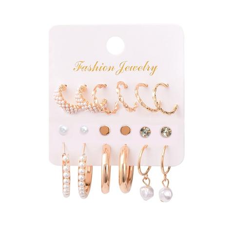 ensemble de boucles d'oreilles en strass et perles incrustées à la mode NHSD361572's discount tags
